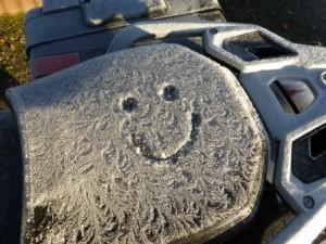 Der Frost hat sein Gesicht hinterlassen.